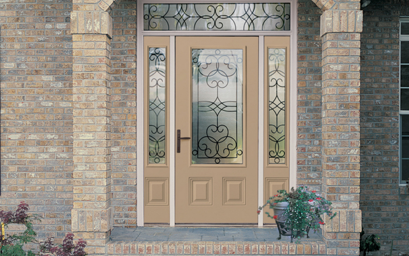 Leaded Glass Entry Doors with Sidelights